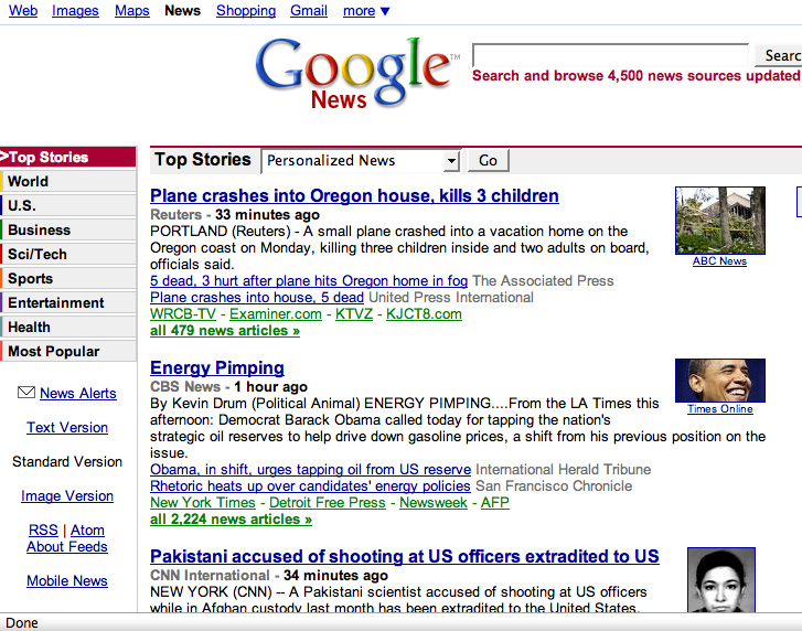 Google News 2008 August 4 around 11:15 pm